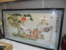 A large Oriental relief picture of birds and flowers made of sea shells *collect only*