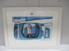 Cornish School painting in acrylics entitled 'Cornish Boat & Harbour study',