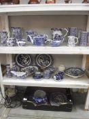 3 shelves of blue and white including Spode