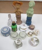 A mixed lot of scent bottles and trinket pots