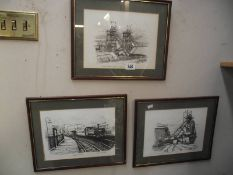 3 framed and glazed colliery scenes.