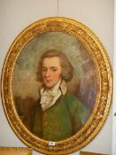 A gilt framed oval oil portrait of a gentleman, circa late 18th / early 19th century.