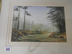 """""""Landscape with Falcon"""" An original framed and glazed watercolour, signature indistinct,"""