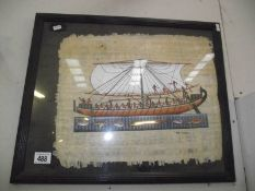 A painted Egyptian ship on papyrus