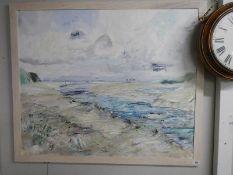 A framed painting of a beach scene, 130 x 110 cm.