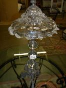 A designer glass table lamp with bronze base and fittings.