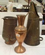 2 vintage brass and copper coal scuttles and a jug