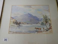 """""""Scottish Loch with Highland Cattle"""" An original framed and glazed watercolour by John Kidd Maxton,"""