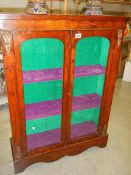 A good Victorian inlaid pier cabinet with key.