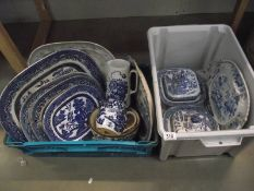 A mixed lot of 19/20th century blue and white meat platters, tureens etc, a/f.
