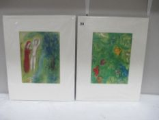 Marc Chagall (1887-1985) Pair of modernist figural lithographic prints published in New York