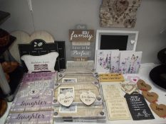 A good selection of painted wood shabby chic signs