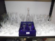A boxed pair of Royal Doulton Monique crystal wine glasses and large selection of glassware