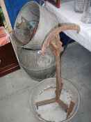 A mixed lot including galvanised dolly tubs etc.