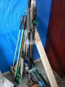 A quantity of garden tools etc.