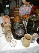 A mixed lot of pots, tray, vase etc.