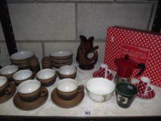 A part Denby coffee set including salt and pepper,