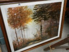 A framed and glazed print entitled Quiet Forest by Gerald Coulson.