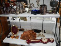 2 shelves of metalware, barometer etc.