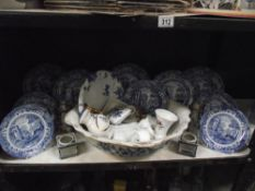A selection of blue and white plates and other pottery including Wedgwood