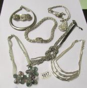 A mixed lot of designer style necklaces including crystal, paste and others. 7 in total.