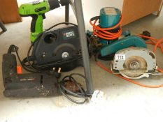 A mixed lot of good tools including router, Black & Decker, saws etc.