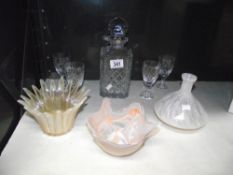 2 art glass bowls and a vase,
