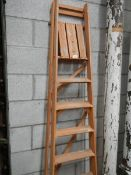 A wooden step ladder etc.