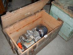 A pine tool box and tools.