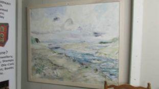 A large oil on canvas coastal scene, 130 x 110 cm,