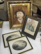 A 19th C coloured engraving and 2 others and a gilt framed oil on canvas signed Tom Riley 85