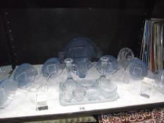 A 1930's blue glass trinket set and other glassware including fruit bowl set