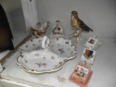 A Goebel song thrush (beak a/f) and other continental porcelain