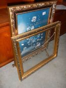 A gilded fire screen and a gilded frame.