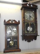 A 1970s ITF 31 day wall clock and a darkwood stained Highlands 31 day mantel / wall clock
