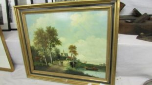 A framed rural scene signed H S Korston.