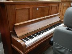 An upright piano.