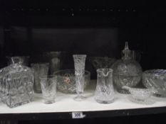 A Jaff Rose hand cut lead crystal bowl and other glassware