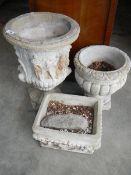 3 old garden plant pots.