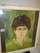 A framed and glazed T Finch oil on paper portrait of a woman in green top, signed.