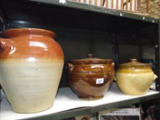 3 large stoneware pots