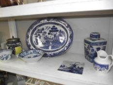 Late 19c Carlton ware blue and white biscuit barrel and other items including Chinese bowl etc.