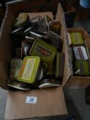 2 boxes of old tins.