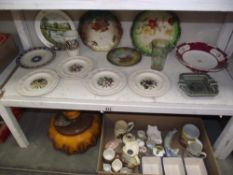 A collection of pottery and china including Leeds creamware floral plates,