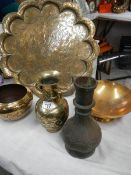 A mixed lot of old brass ware.