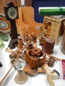 A mixed lot of wooden items including 2 gavels.