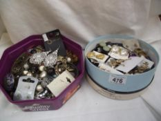 2 tins of costume jewellery