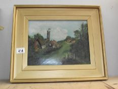A gilt framed oil on canvas of Chuch Village scene and 2 others