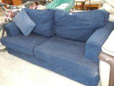 A blue sofa.