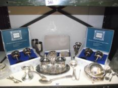 A quantity of silver plate items including boxed cavalier goblets etc.